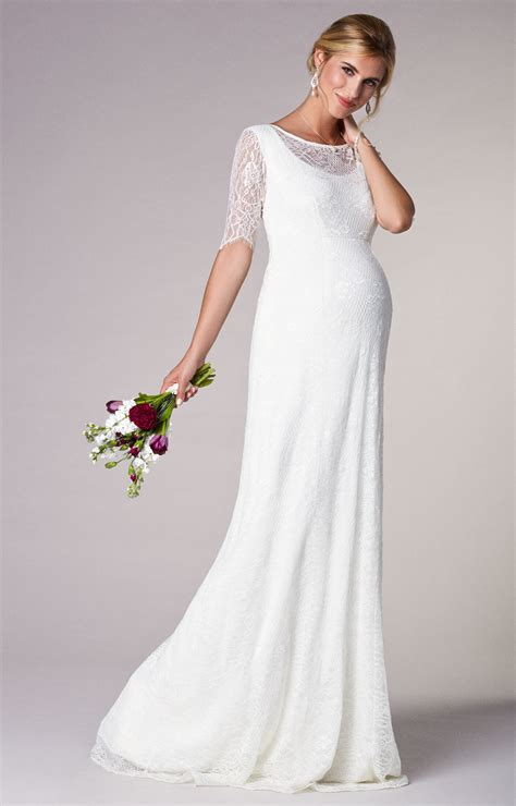 evie lace maternity wedding gown long ivory maternity