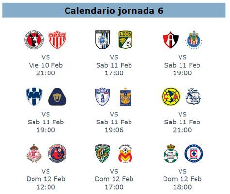 calendario jornada 12 del futbol mexicano apertura 2016 trasmision de partidos de la jornada 6 del futbol mexicano