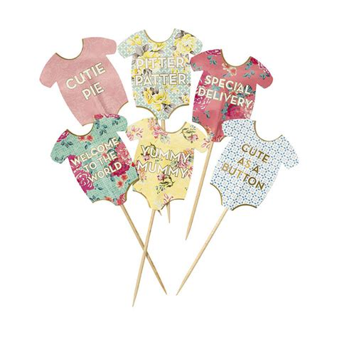 Baby Shower A by Baby Shower Floral Baby Grow Cake Toppers By Postbox