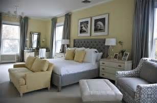 Beach style bedroom in yellow with a splash of gray design libby