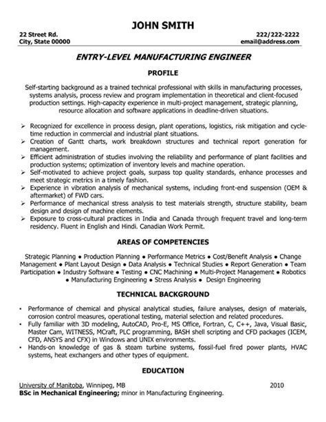 manufacturing resume sles manufacturing engineer resume sle template