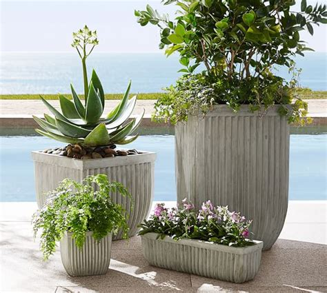 pottery barn planters concrete fluted planter square pottery barn