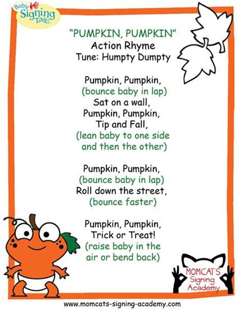 pumpkin poems quot pumpkin pumpkin quot rhyme tune humpty dumpty ages