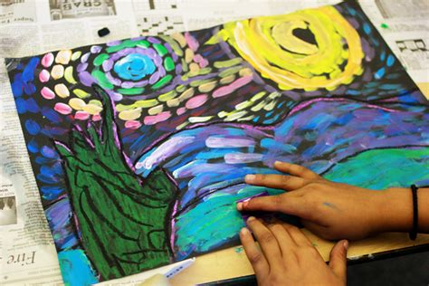 ideas for ks2 art lessons starry night mixed media deep space sparkle