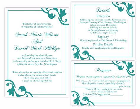 wedding invitations template word diy wedding invitation template set editable word file