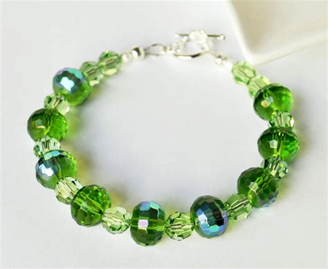 Custom Handmade Beaded Jewelry - green bracelet handmade beaded jewelry with silver bracelet