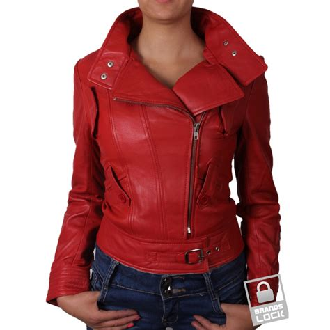red motorcycle jacket red leather jacket womens coat nj