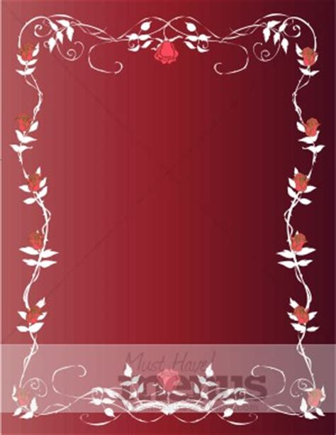 roses and vines red menu background holiday menu backgrounds
