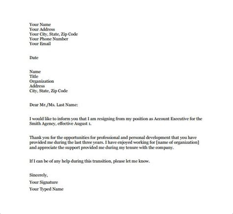 simple resignation letter template 28 free word excel