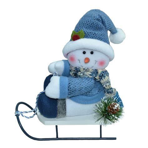 trim a home decorations trim a home 174 9 quot blue hat snowman on sled d 233 cor seasonal indoor decor