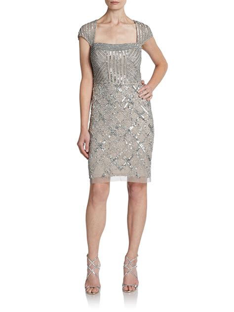 beaded papell dress papell beaded sequined cocktail dress in gray