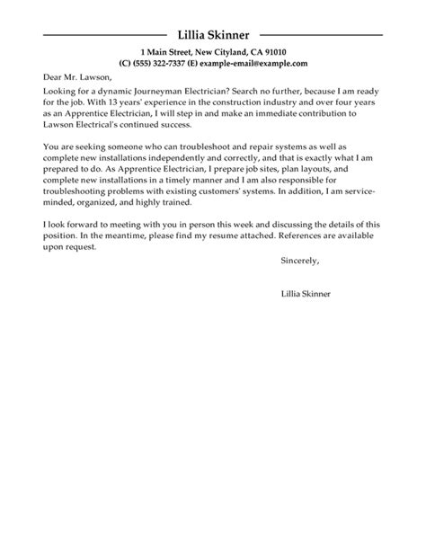 apprentice electrician cover letter examples livecareer