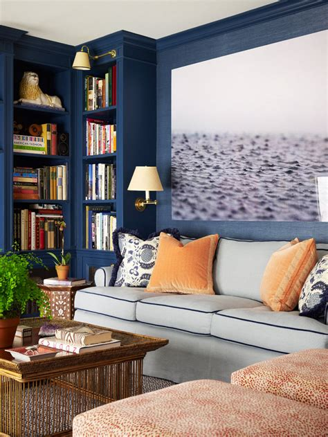 Blue Wall Colors Orange Blue 8 Navy Blue Library And Study Ideas House Mix