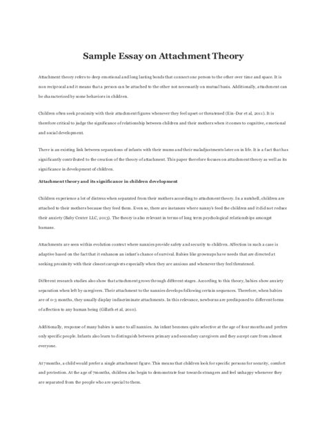 Attachment Theory Essay sle essay on attachment theory