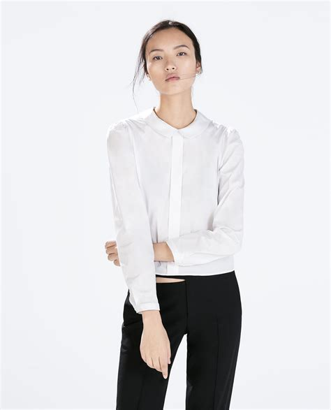 White Blouse Pan Collar by Zara Blouse With Pan Collar In White Lyst