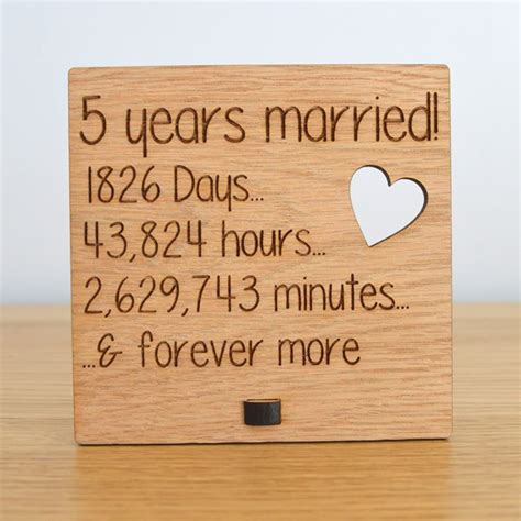 5th Wedding Anniversary Gifts Wood by Wooden Wedding Anniversary Plaque Sign Days Hours Minutes