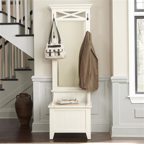 standing entryway mirror with hooks and shelf