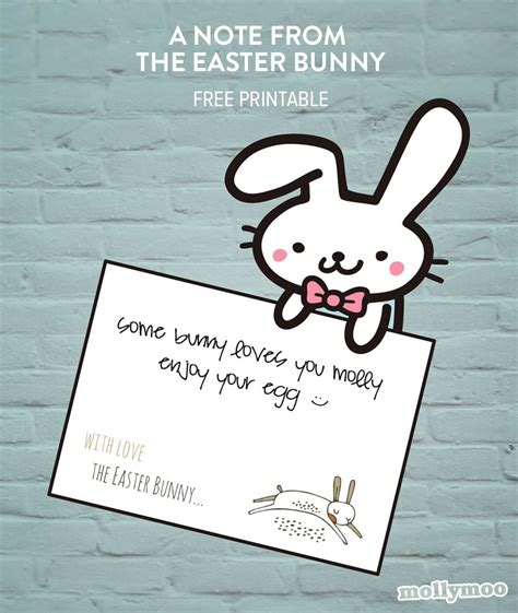 happy easter note mollymoocrafts a note from easter bunny free printable