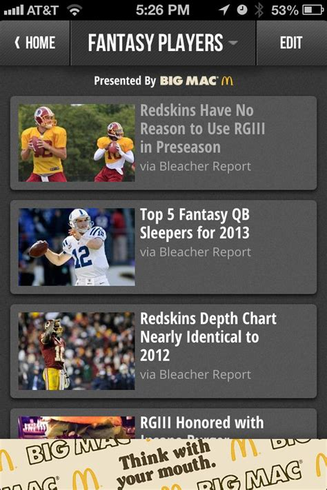 bench report app bleacher report s team stream app adds fantasy football