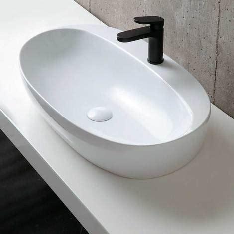 rubinetto per lavabo da appoggio lavabo da appoggio ceramica azzurra elegance 90x44 con
