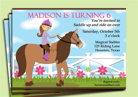 printable birthday invitations horses horse riding invitation printable or printed with free