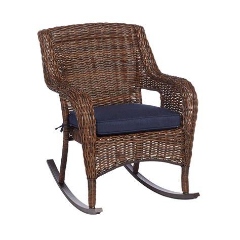 hampton bay cambridge brown wicker outdoor rocking chair