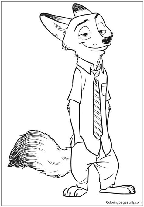 fox nick wilde coloring page  coloring pages