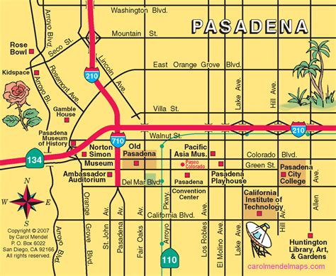 map of pasadena california map of downtown pasadena