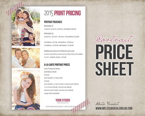 Portrait Photography Pricing by Photography Portrait Price List Photo Price Sheet