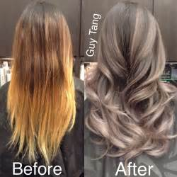 how to create gray highlights in brown hair granny hair silver grey ombre hair make over youtube