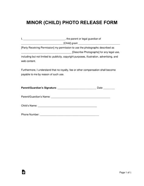 Photo Release Form For Minors Template Free Minor Child Photo Release Form Word Pdf Eforms Free Fillable Forms