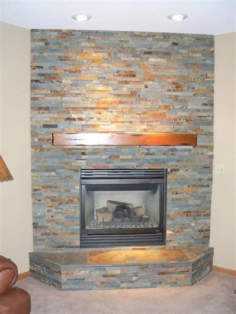 stacked slate fireplace surround home design