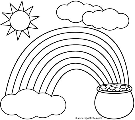 rainbow pot of gold sun and clouds coloring page nature