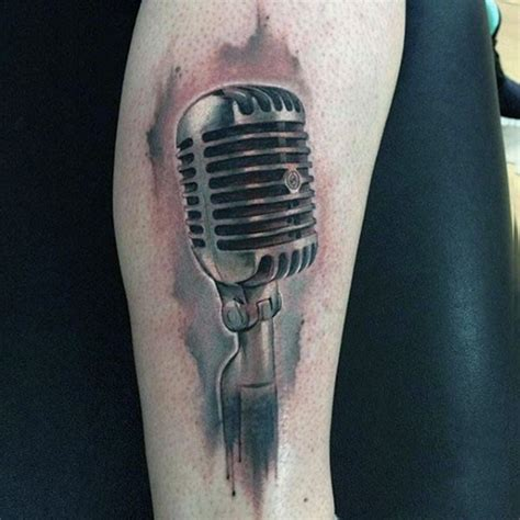 microphone realistic tattoo 3d realistic looking colored vintage microphone tattoo on