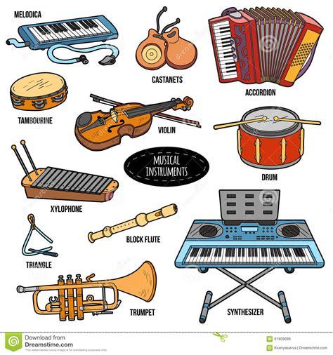 clipart strumenti musicali insieme di colore con gli strumenti musicali autoadesivi