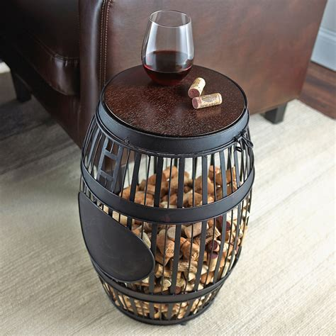 barrel cork catcher accent table barrel cork catcher accent table so that s cool