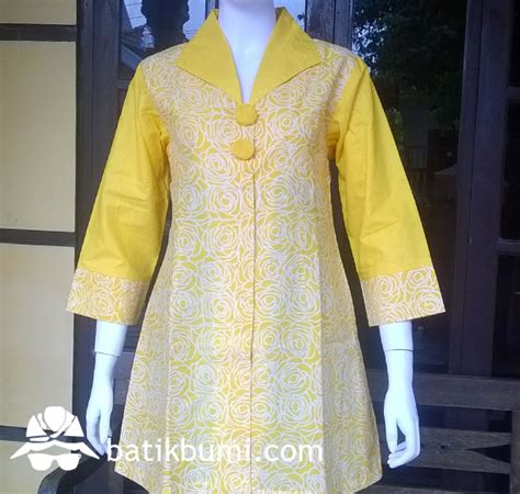 Tunik Baju Menyusui Dress Tunik Batik Kain Katun tunik batik cap mawar kuning jual batik murah batik modern batik sarimbit baju batik