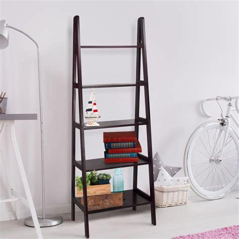 espresso ladder bookcase casual home espresso 5 self ladder bookcase 176 53 the