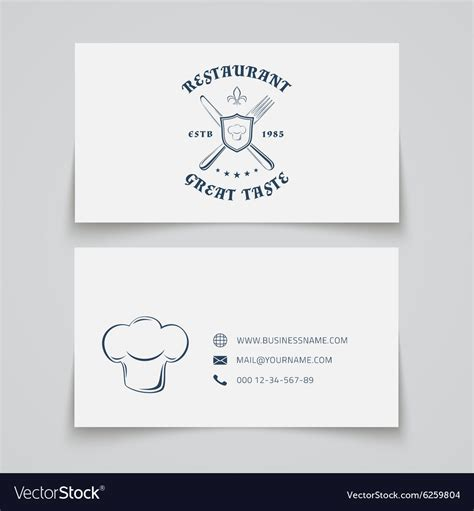 restaurant business cards templates free restaurant business card template royalty free vector image