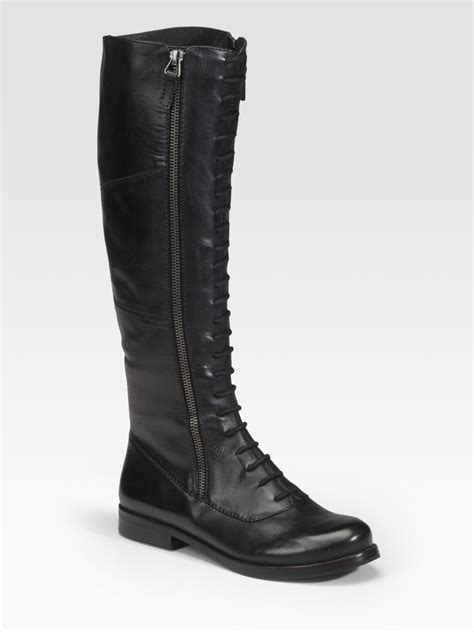 rosegold lace up boots in black lyst