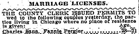 Chicago Illinois Marriage Records Pergler Family History Francis Franziska Fannie Pergler Sana 1882