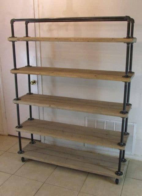 shelf cart 5 tier reclaimed wood steel pipe weathered