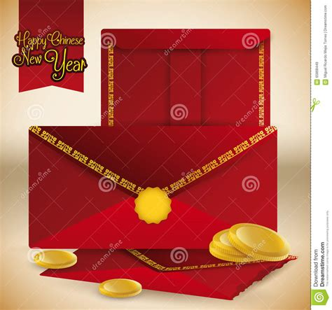 new year coin envelopes envelopes and coins for new year vector