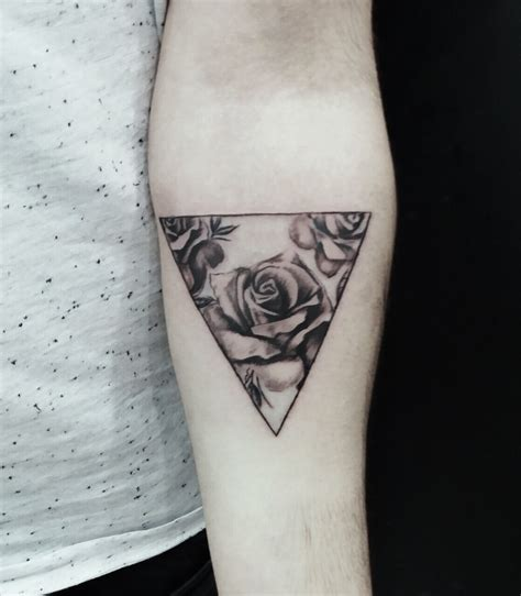 geometric rose tattoo geometric arm black ink gray flower