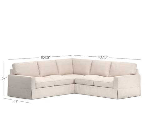 pottery barn pb comfort sectional pb comfort square arm slipcovered 3 piece l shaped