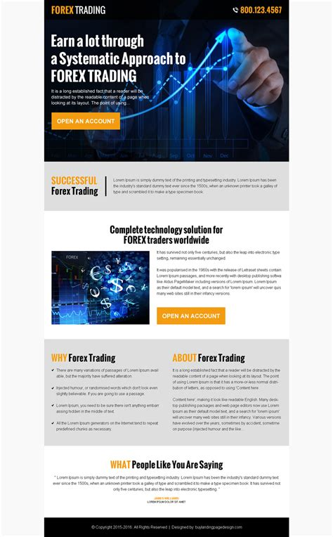 forex landing page template 100 best click through rate optimization landing page