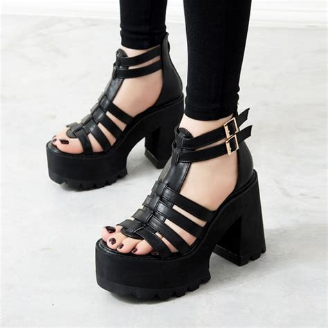 black platform chunky black platform strappy sandals