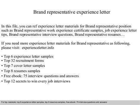 Brand Representative Cover Letter brand representative experience letter