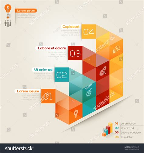 Isometric Shape Chart Modern Style Design Stock Vector Chart Presentation Design