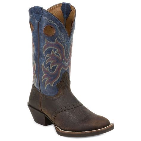 justin boots square toe justin boots 12in stede punchy square toe blue casual